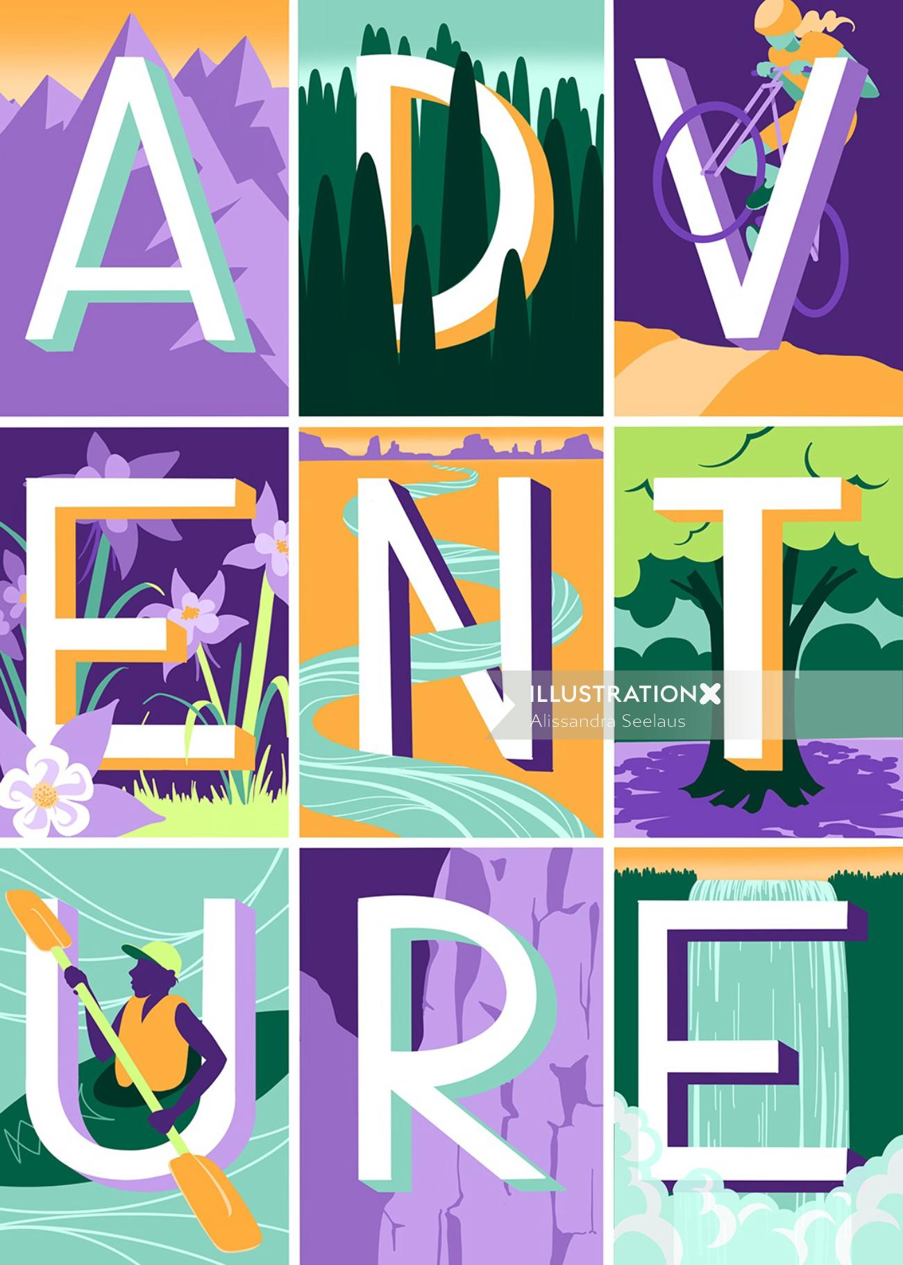 Typography art of adventure