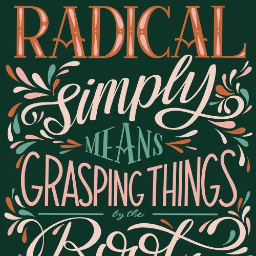 Lettering art of grasping things
