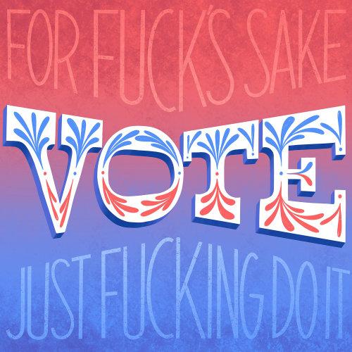 Cast your vote lettering