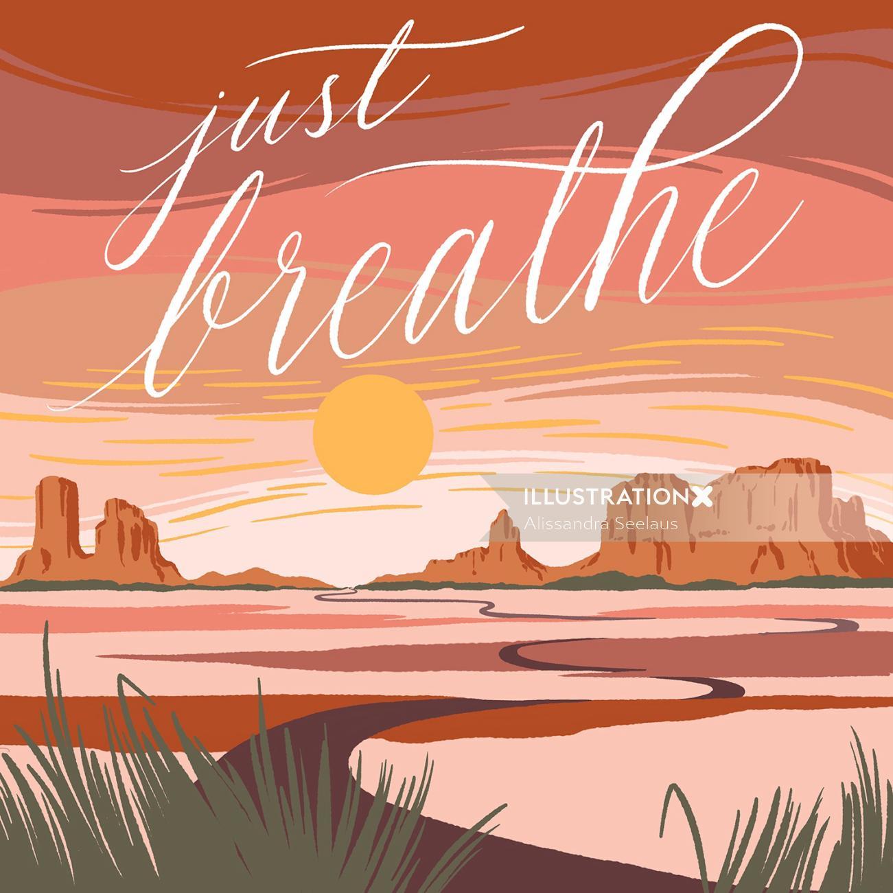 Graphic design of just breath