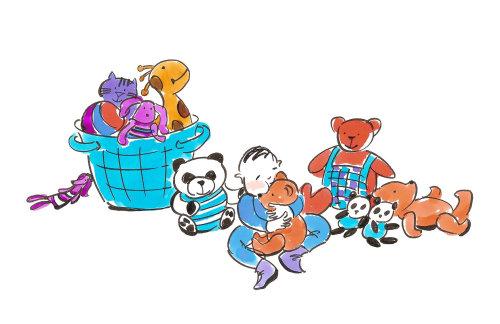 Linha arte de criança brincando com brinquedos