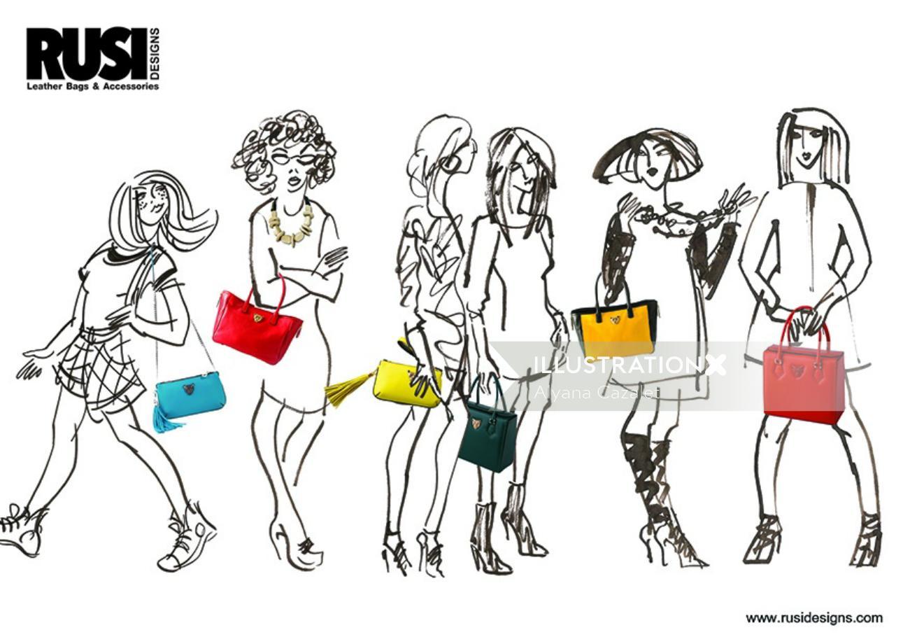 Line Artwork For Fashion Ladies