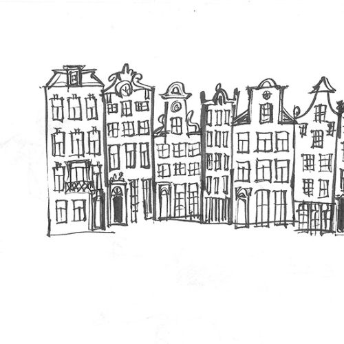 Architecture Drawing of Amsterdam Buildings