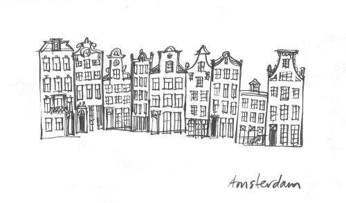 Desenho de arquitetura de edifícios de Amsterdã