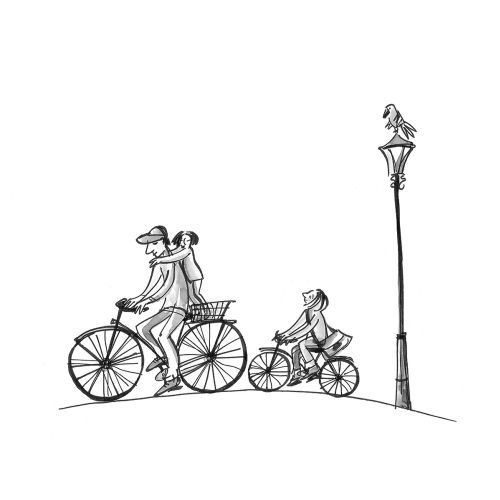 Line art of riding cycle