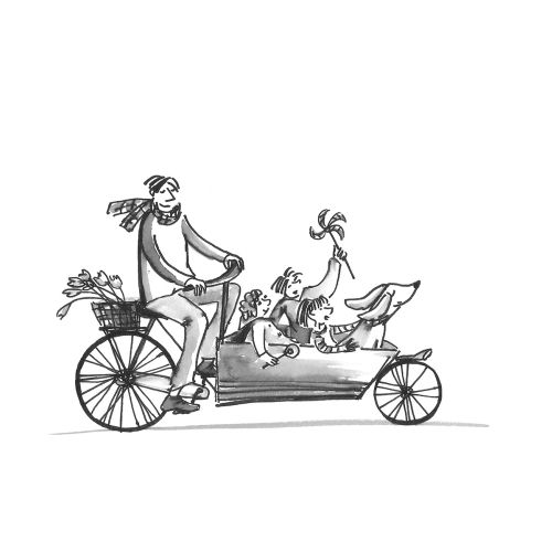 Line illustration of father with kids on the bike