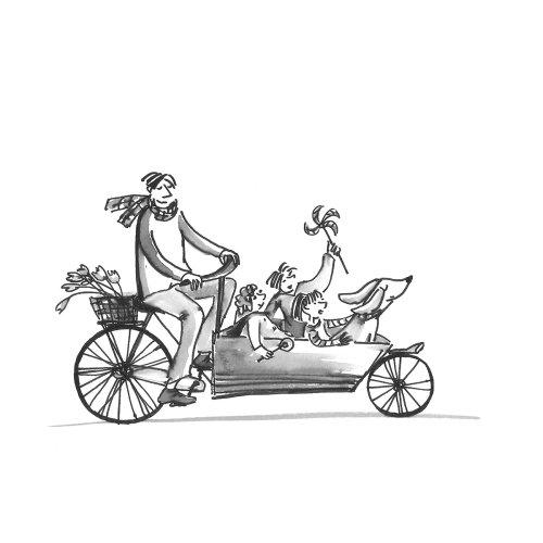 Ilustração de linha do pai com os filhos na bicicleta