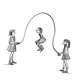Girls skipping - Line artwork