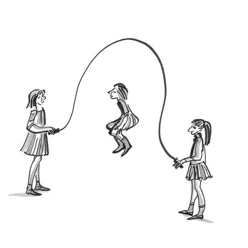 Meninas pulando - linha artística