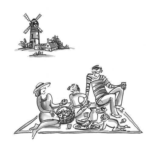 Família curtindo o piquenique