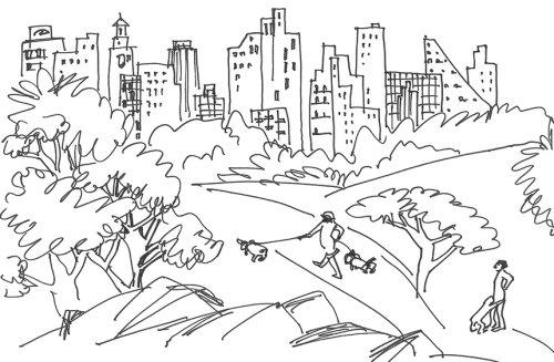 Ilustração de linha do central park