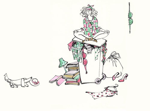 Woman in a messy room illustration