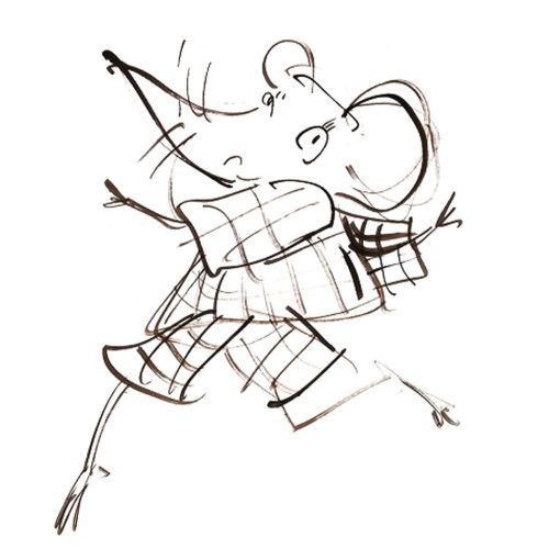 Line illustration of dancing mouse