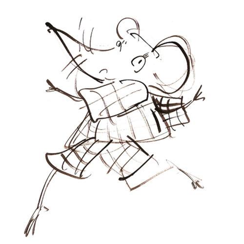 Ilustração de linha do mouse dançando