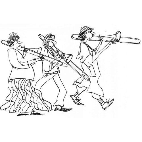 Desenho de linha de músicos de trio de bronze