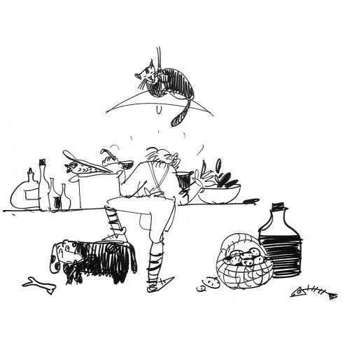 Line art of man with food