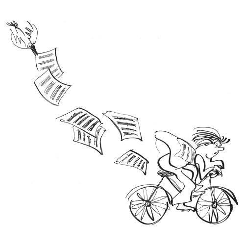 An illustration of man riding bicycle