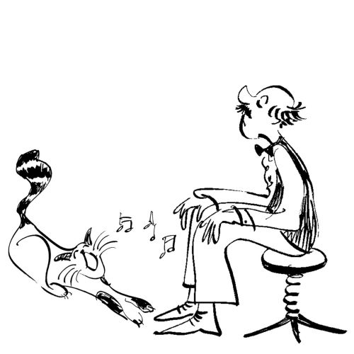 Line art of singing cat and old man