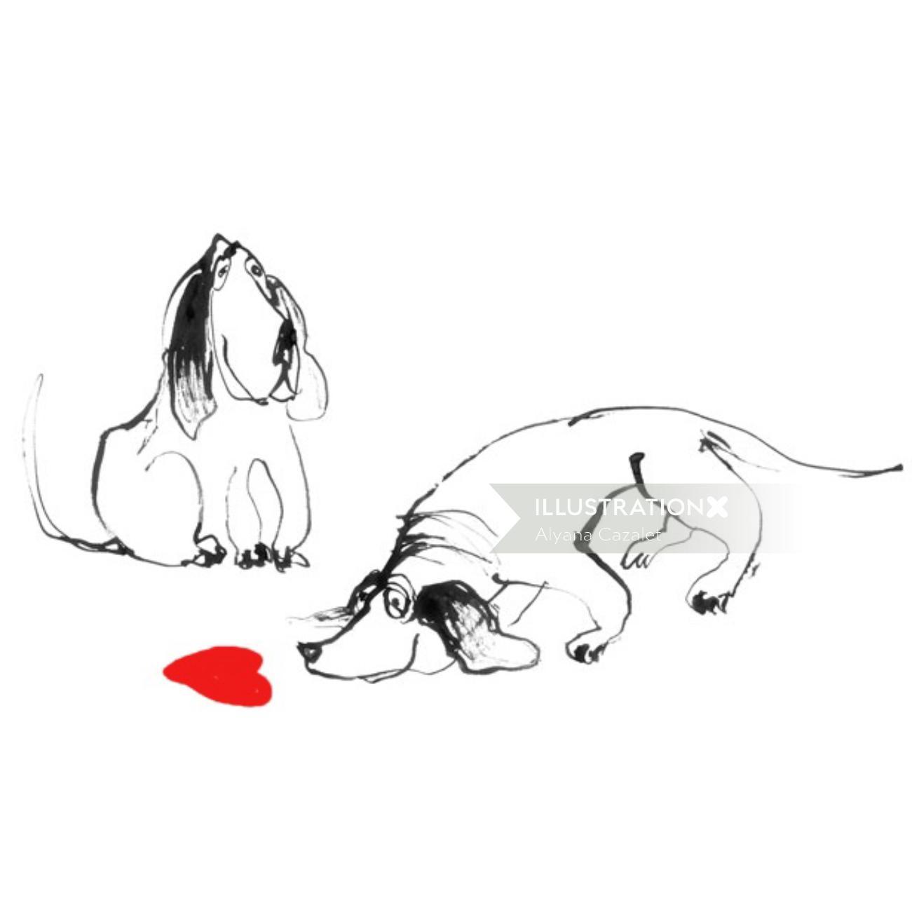 Cartoon dogs illustration by Alyana Cazalet