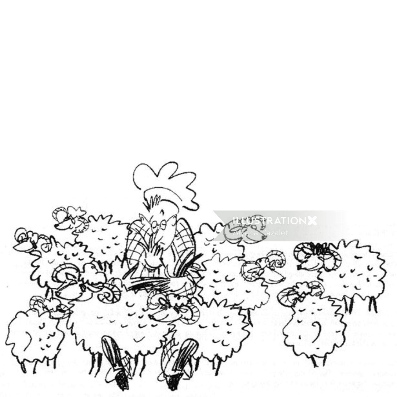Cartoon sheep illustration by Alyana Cazalet