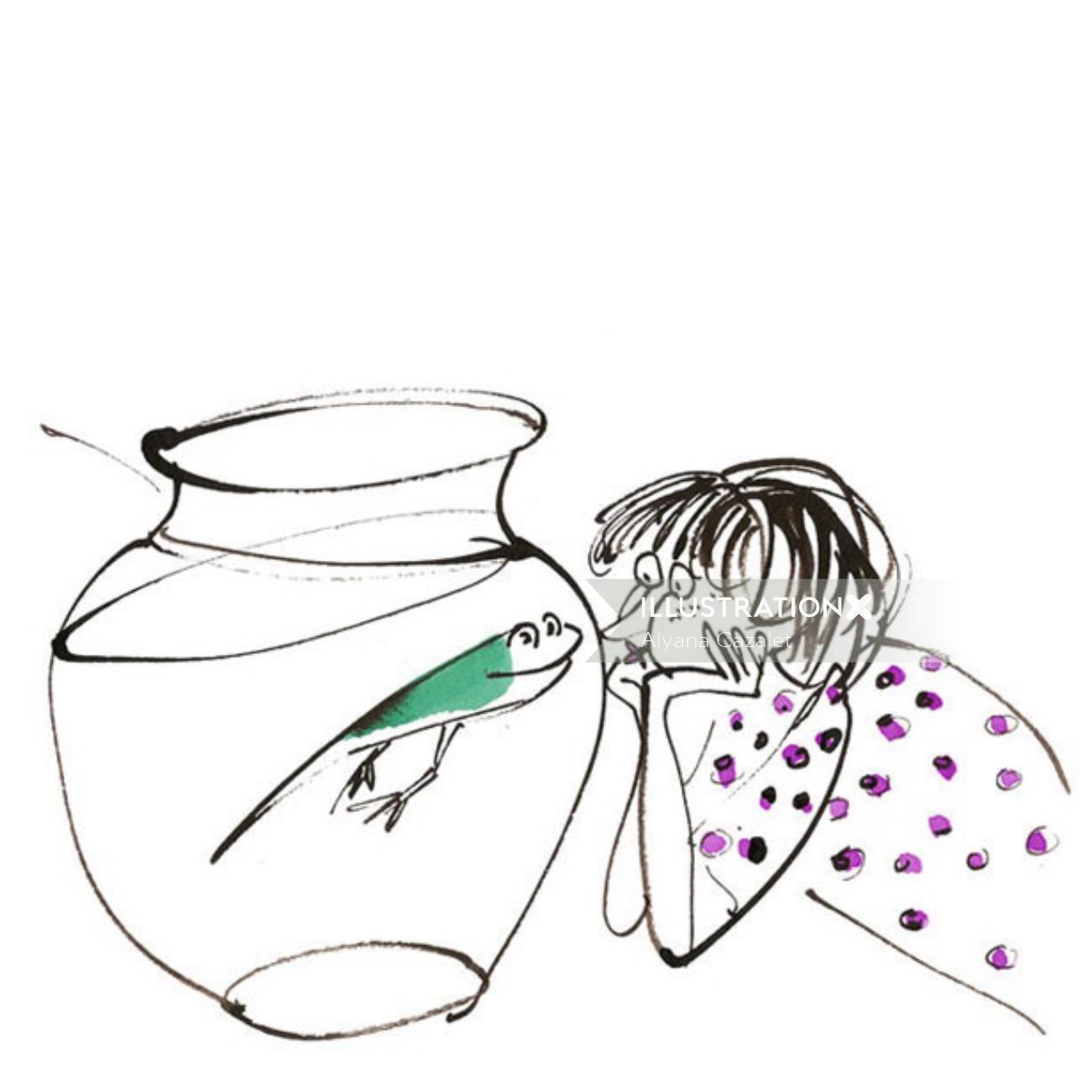 frog and girl comic illustration
