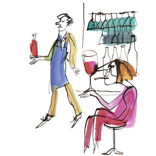 ilustração da cena do bar com garçom