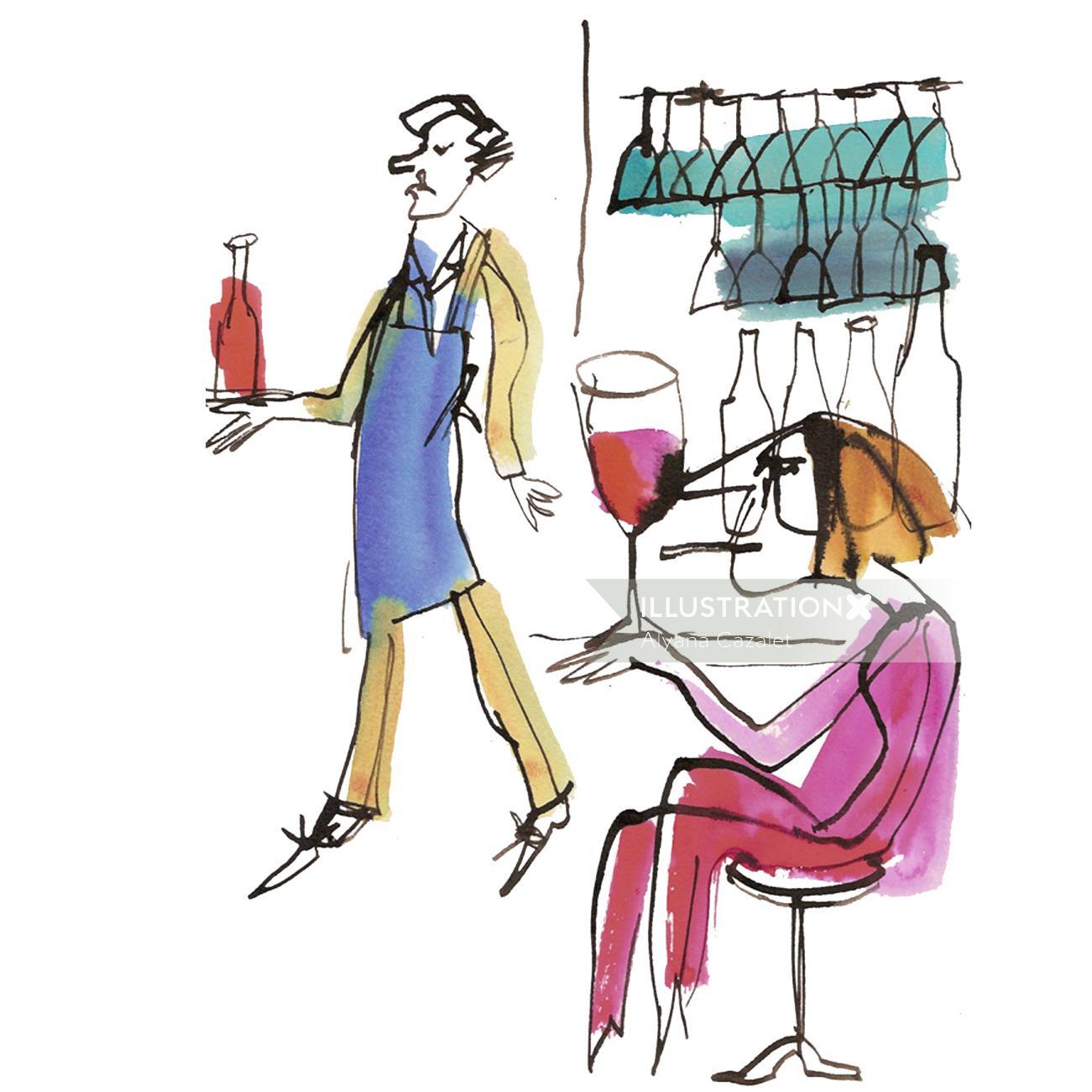 illustration of bar scene with waiter