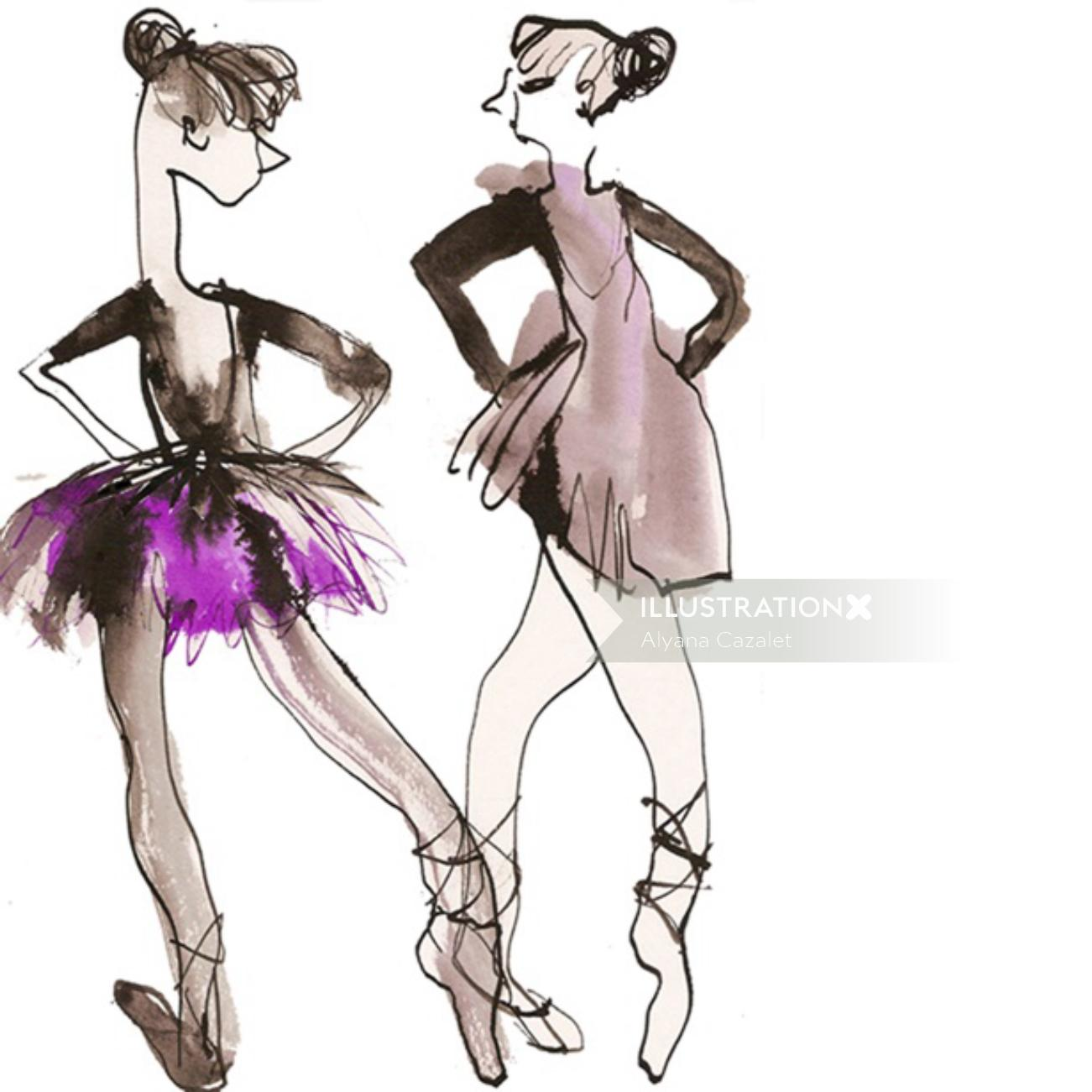 Ballet dancers illustration by Alyana Cazalet