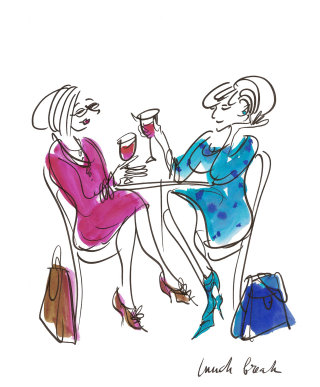 Ladies with drinks illustration by Alyana Cazalet