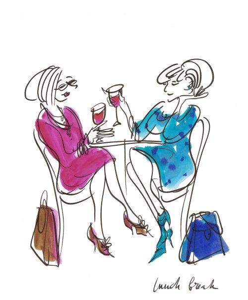 Senhoras com ilustração de bebidas de Alyana Cazalet