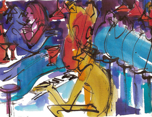 watercolor illustration of people at cafe