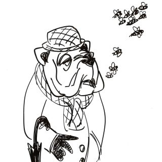 Caricature of man with dog face
