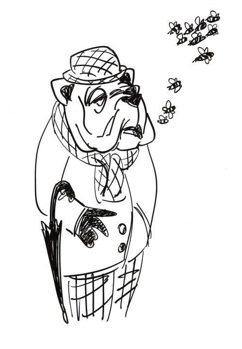 Caricatura de homem com cara de cachorro