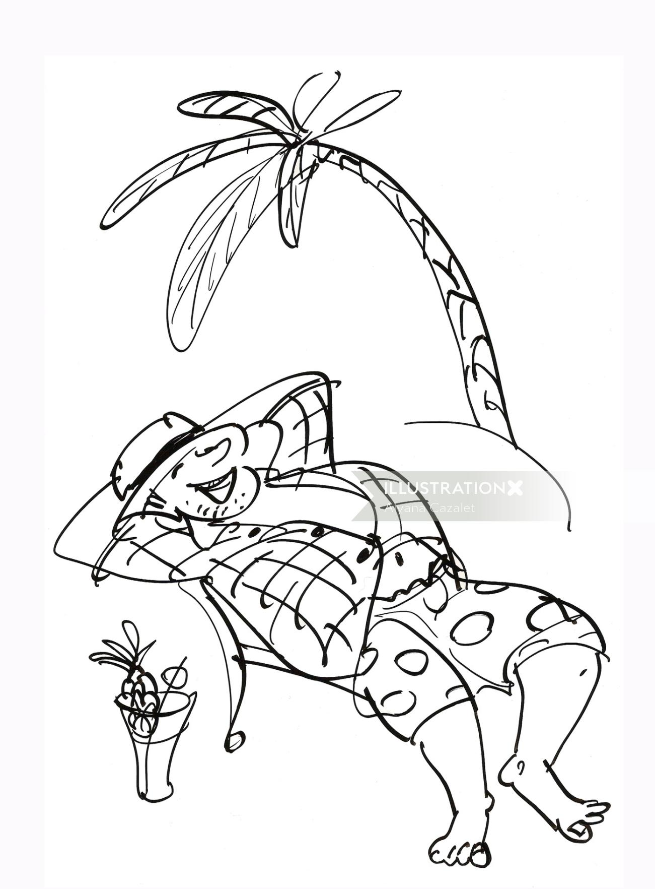Man relaxing illustration - Cartoon illustration by Alyana Cazalet