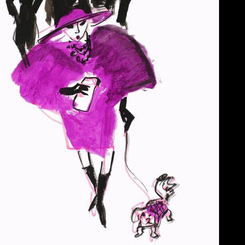 Fashion lady with a dog illustration by Alyana Cazalet