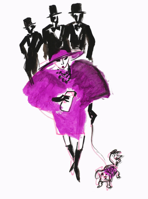 Fashion lady with a dog illustration by Alyana Cazalet