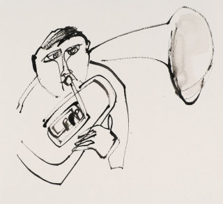 Black & white drawing of horn player