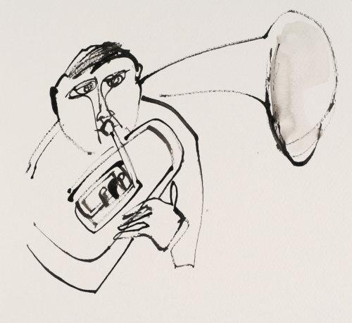 Desenho preto e branco do tocador de trompa