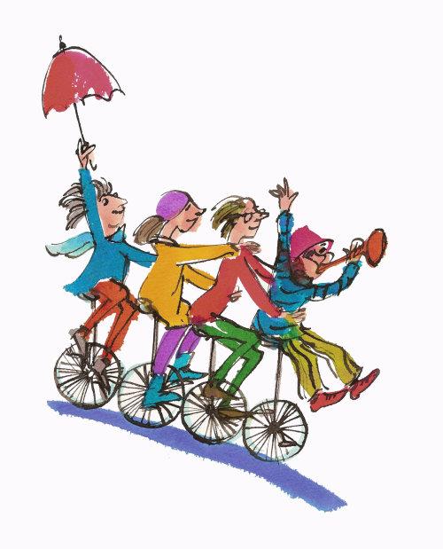 Adolescentes se divertindo em bicicleta