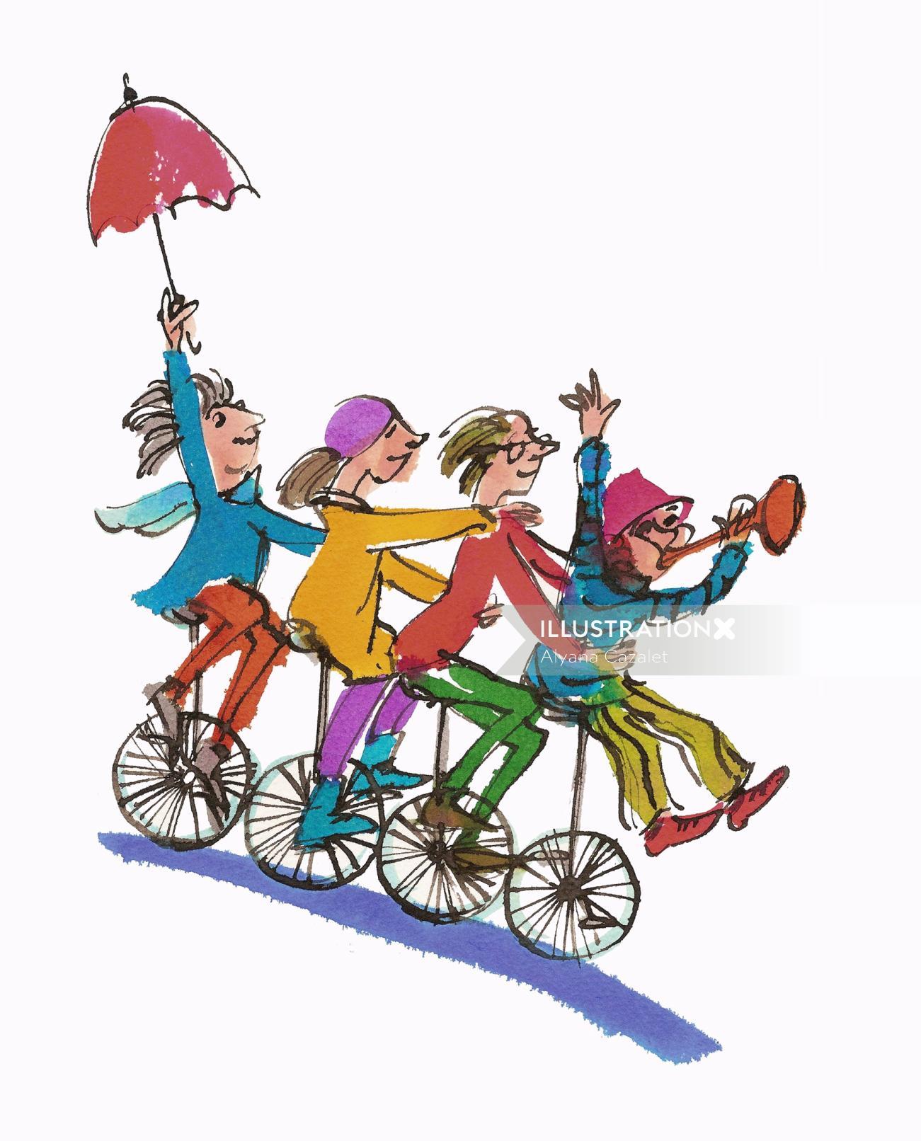 Teens having fun on bicycle