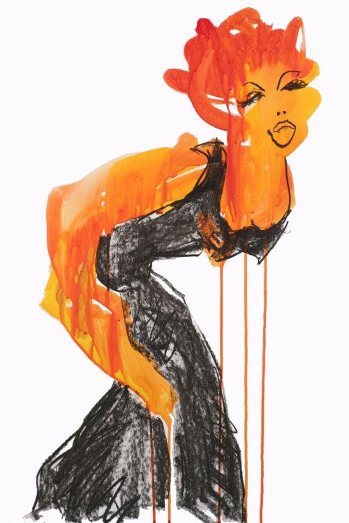 Drunken lady illustration by Alyana Cazalet