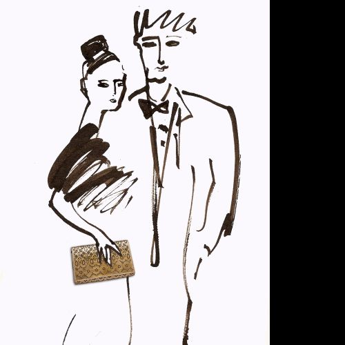 Brushstroke, couple fashion illustration