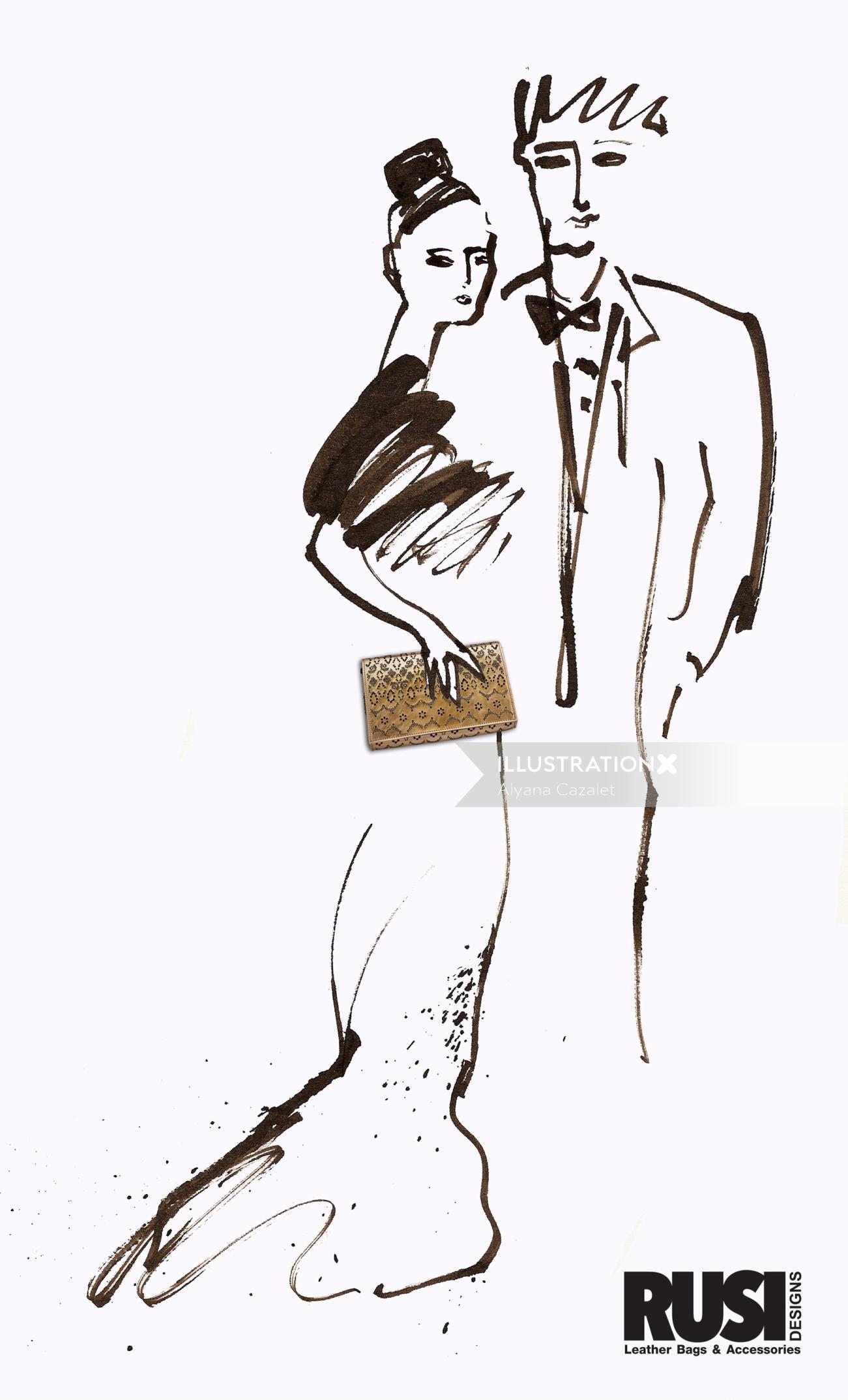 Brushstroke, couple fashion illustration