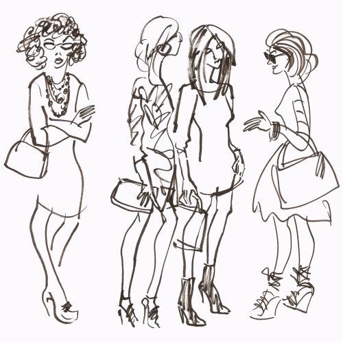Groupe de dames de mode