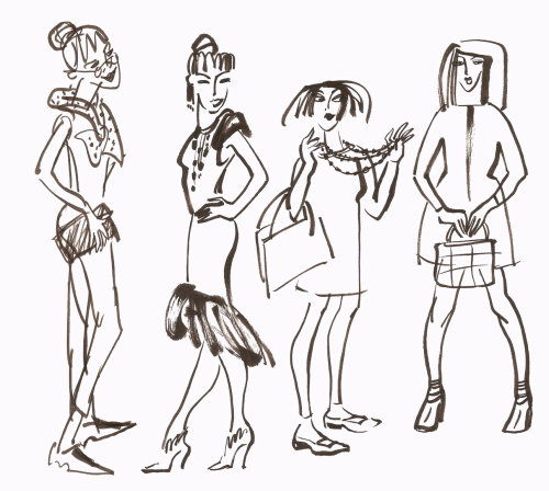 Group of ladies illustration by Alyana Cazalet