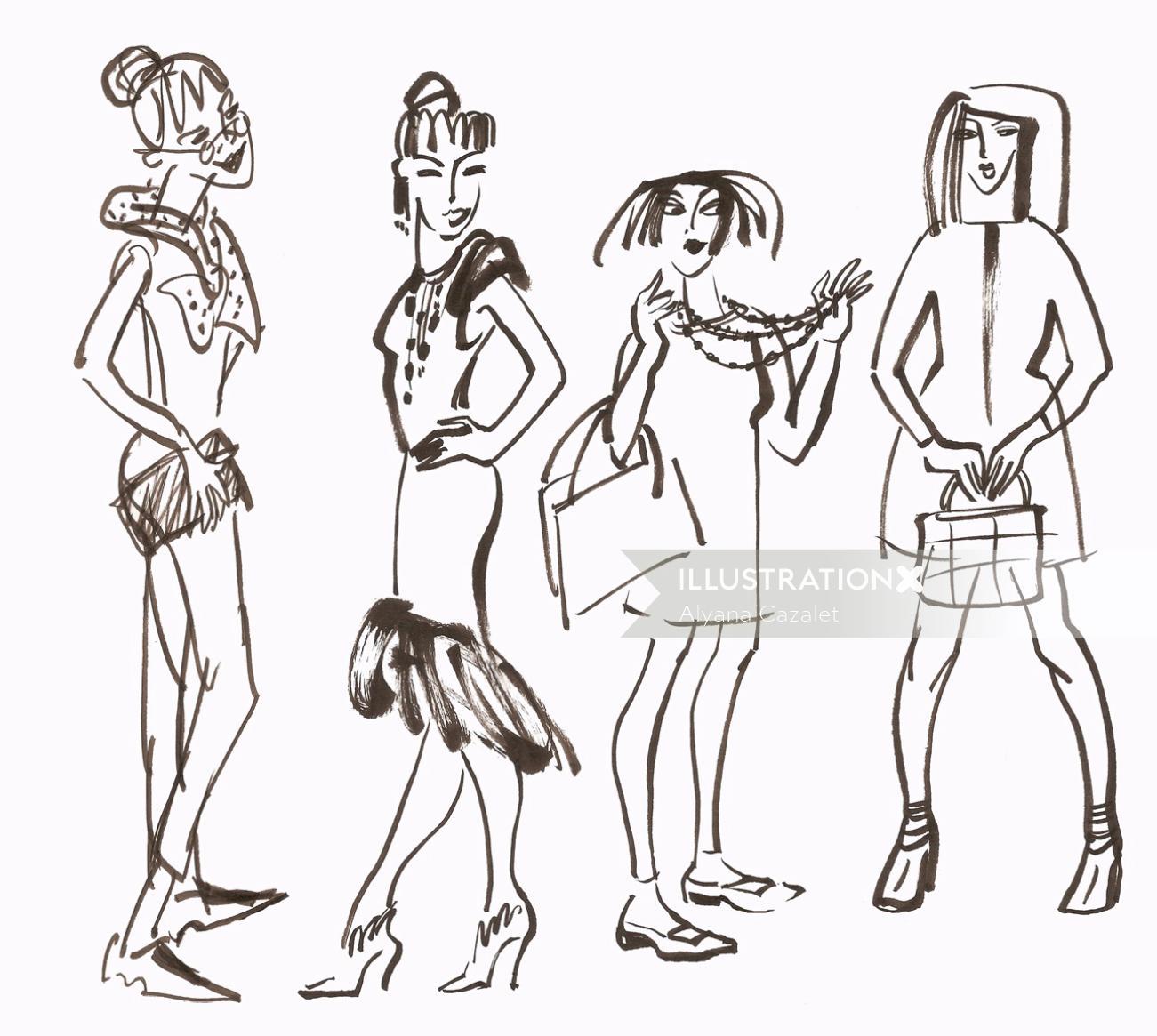 Group of ladies illustration by Alyana Cazalet