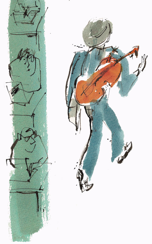 line and colour illustration of man with cello