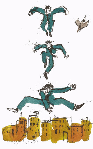 Man jumping illustration by Alyana Cazalet