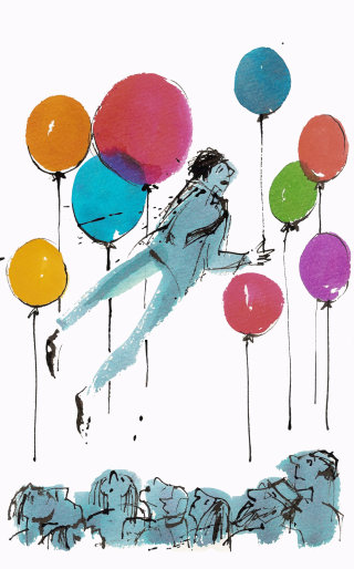 Man flying with balloons illustration