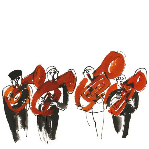 French horn players illustration by Alyana Cazalet